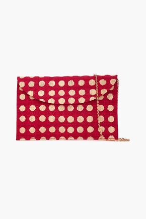 KAYU Tulum polka-dot straw clutch