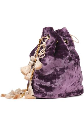 KAYU Nicolette tasseled crushed-velvet bucket bag
