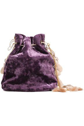 aeee46dd6da8 KAYU Nicolette tasseled crushed-velvet clutch