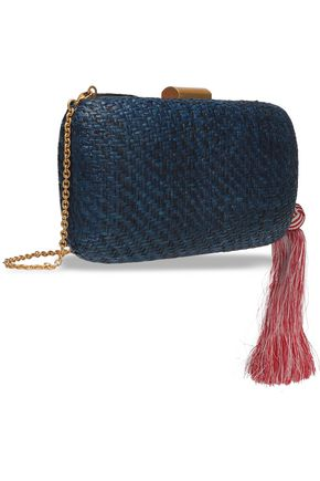 KAYU Florence tasseled striped straw clutch