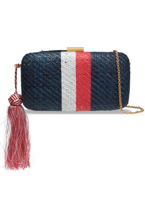 KAYU Tasseled striped straw woven clutch