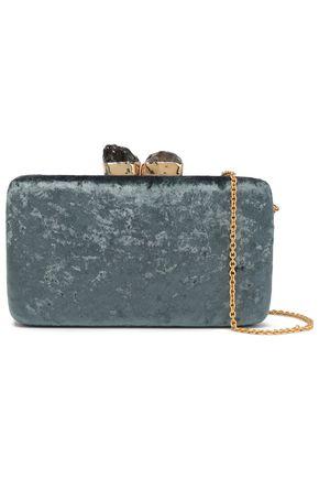 KAYU Martgaux stone-embellished crushed-velvet clutch