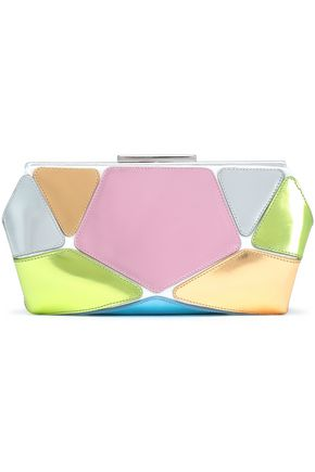 ROGER VIVIER Metallic color-block leather clutch
