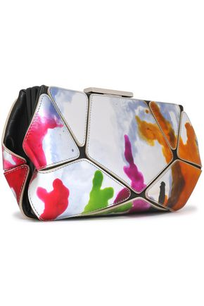 ROGER VIVIER Painted metallic and textured-leather clutch