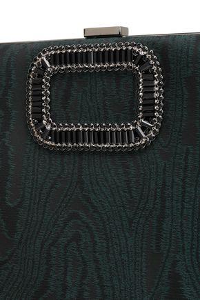 ROGER VIVIER Chain-embellished moire clutch