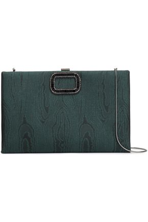 ROGER VIVIER Chain-embellished moire clutch