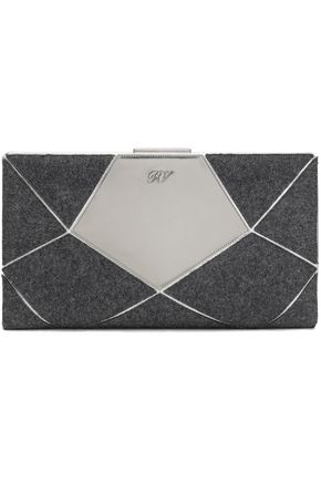 ROGER VIVIER Prismick patchwork felt and mirrored-leather clutch