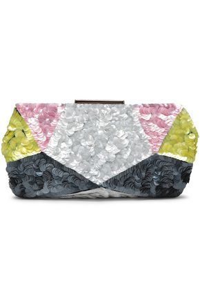 ROGER VIVIER Color-block sequined clutch