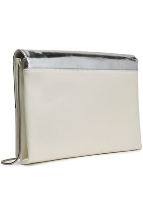 ROGER VIVIER Metallic and smooth leather-paneled clutch