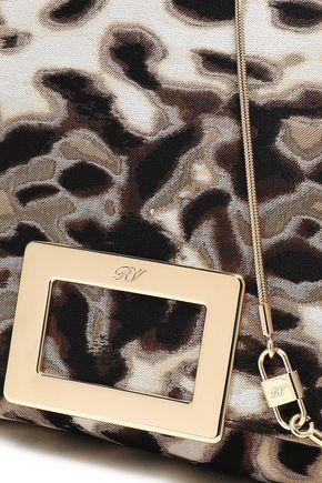 ROGER VIVIER Leopard-jacquard envelope clutch