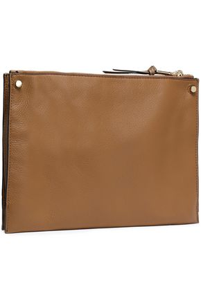 SANDRO Bianca smooth and textured-leather shoulder bag