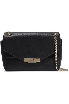 Suede Trimmed Metallic Leather Shoulder Bag by Sandro