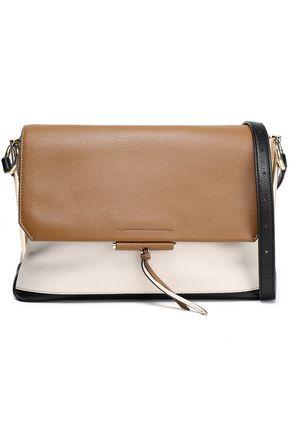 SANDRO Color-block pebbled-leather shoulder bag