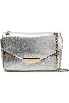 SANDRO Suede-trimmed metallic-leather shoulder bag
