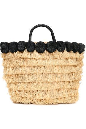 KAYU Pompom-embellished leather-trimmed straw tote