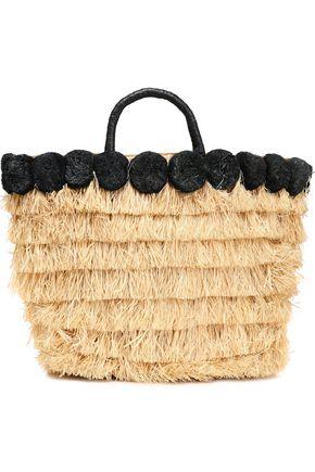 KAYU Lucca pompom-embellished fringed straw tote