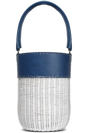 KAYU Lucie leather-paneled wicker bucket bag