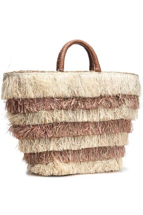 KAYU Pinata leather-trimmed straw tote