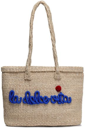 KAYU Pompom-embellished embroidered straw tote