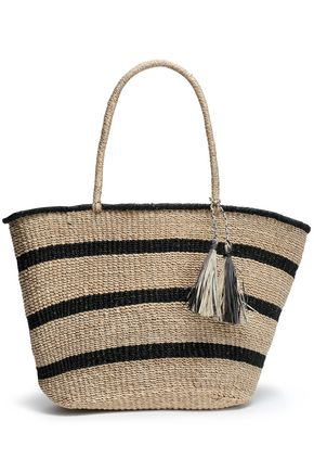 KAYU Tasseled striped straw tote