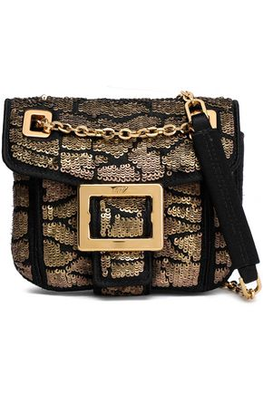 ROGER VIVIER Embellished sequined woven shoulder bag