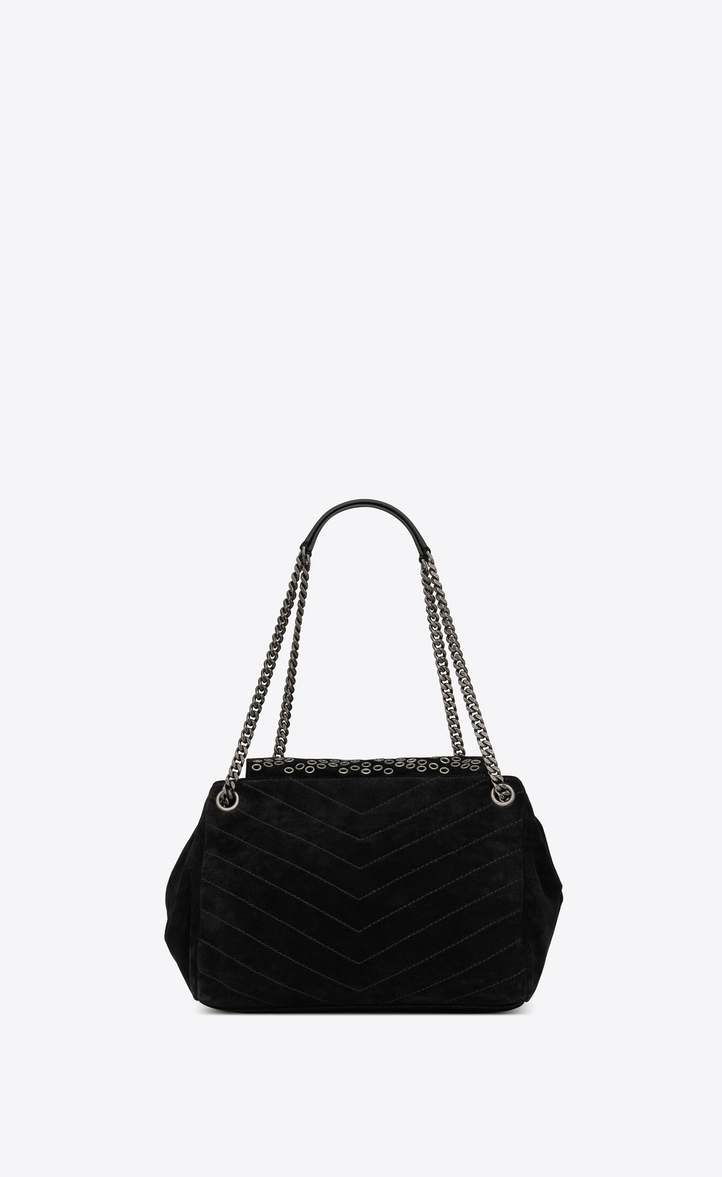 49cd7e50078c Saint Laurent NOLITA Medium Chain Bag In Suede And Eyelets ...