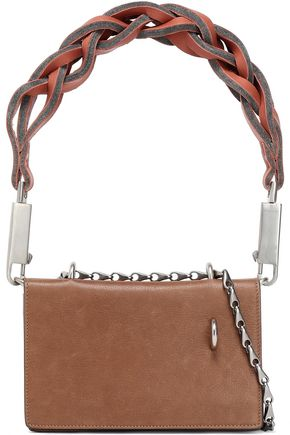 RICK OWENS Embellished braid-trimmed leather shoulder bag