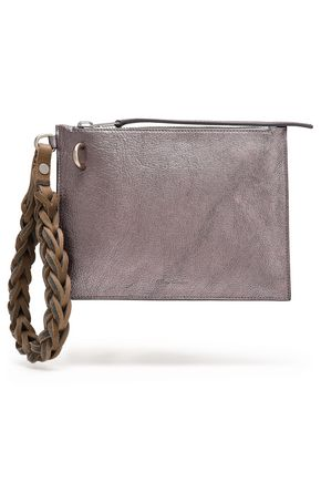 RICK OWENS Metallic textured-leather pouch