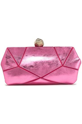 ROGER VIVIER Metallic leather and suede clutch