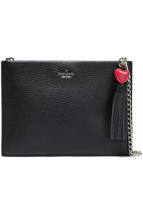 KATE SPADE New York Tasseled textured-leather pouch