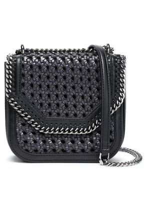 STELLA McCARTNEY Chain-embellished faux leather woven shoulder bag