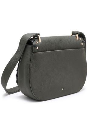 KATE SPADE New York Floral-appliquéd studded textured-leather shoulder bag