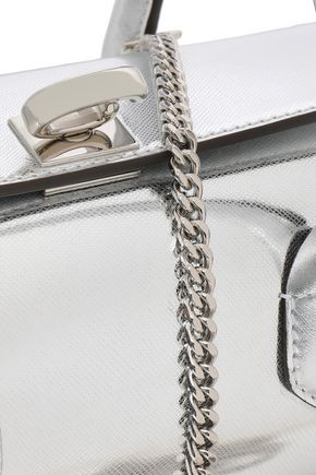 OSCAR DE LA RENTA Mirrored snake-effect leather shoulder bag