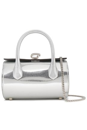 OSCAR DE LA RENTA Mirrored snake-effect leather tote