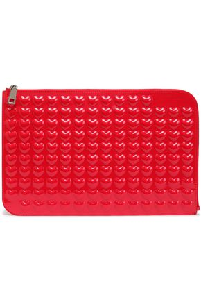 MARC JACOBS Embossed patent-leather clutch