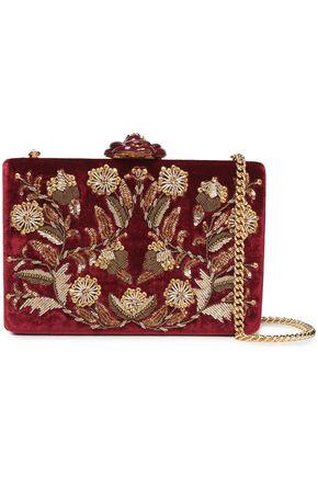 OSCAR DE LA RENTA Sequin-embellished velvet clutch