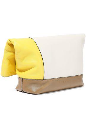 MARNI Crystal-embellished color-block leather clutch