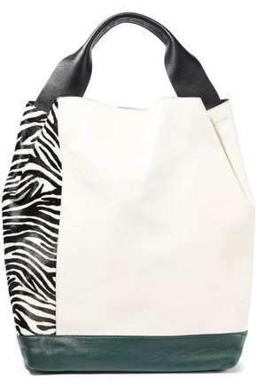 MARNI Pod paneled leather and zebra-print calf hair shoulder bag