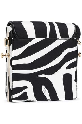EMILIO PUCCI Leather-trimmed zebra-print silk-twill shoulder bag