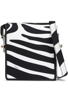 EMILIO PUCCI Leather-trimmed zebra-print silk-twill shoulder bag