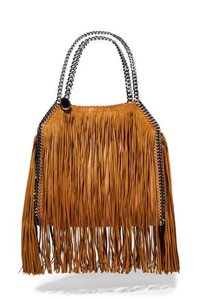 STELLA McCARTNEY Falabella fringed faux suede and brushed-leather tote