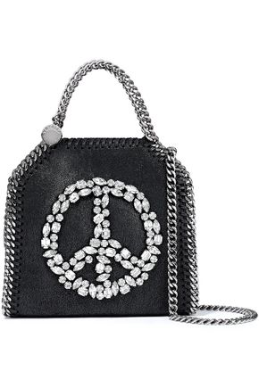 STELLA McCARTNEY Falabella Tiny crystal-embellished faux brushed-leather shoulder bag