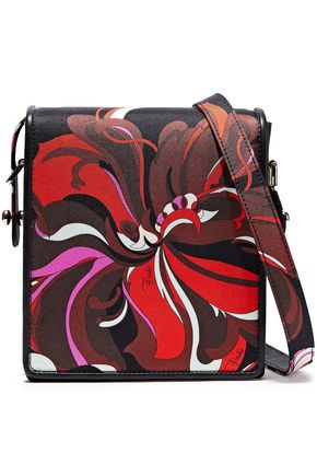 EMILIO PUCCI Leather-trimmed printed satin-twill shoulder bag