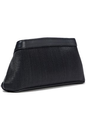 AKRIS Leather-trimmed woven horse hair clutch