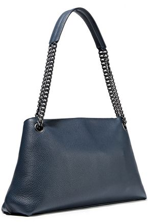 AKRIS Chain-trimmed textured-leather shoulder bag