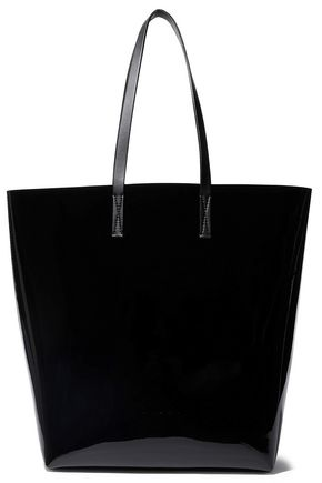 MARNI Smooth leather-trimmed faux patent-leather tote