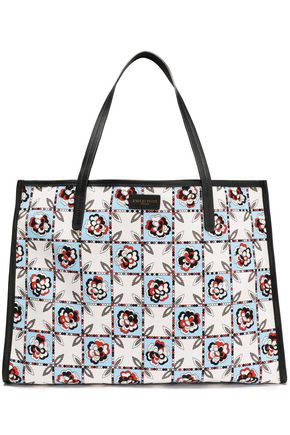 EMILIO PUCCI Leather-trimmed printed twill tote