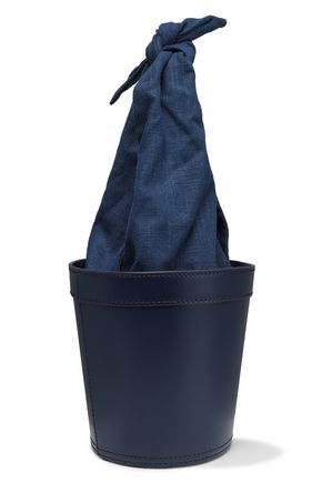 STAUD Britt knotted canvas and leather bucket bag