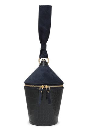 STAUD Croc-effect leather and suede bucket bag