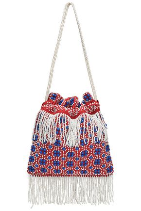 STAUD Lance beaded fringed canvas shoulder bag